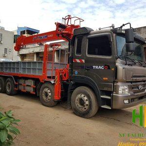 Xe tải Huyndai Trago 5 chân gắn cẩu Kanglim 12 tấn